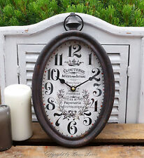 Wanduhr Uhr oval Metall Retro Nostalgie French Vintage Shabby Antik Landhaus
