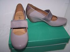 Size 5.5 grey patent leather wedge heel court shoes from Clarks