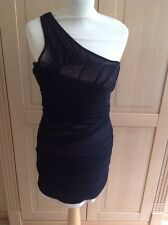 TOPSHOP BLACK ONE SHOULDER DRESS UK SIZE 12(MORE LIKE 10) BNWT SLIGHT DEFECT