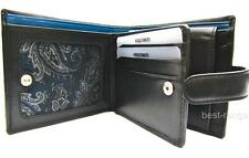 Mens Wallet Soft Real Leather Visconti Black/Blue New in Gift Box (PM102)