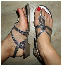 GROSBY SUMMER SANDAL 9 metallic PEWTER comfy FLAT STRAPPY thong SHOE T-Strap NEW