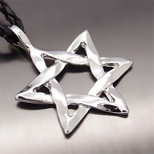 """New Fashion Men's Silver Star Of David Pewter Pendant with 20"""" Choker Necklace"""