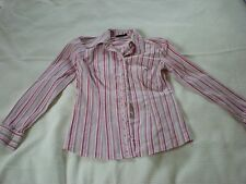 Ladies tailored long sleeved pink and white stripped shirt