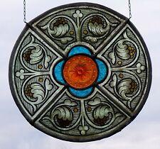 Bleiverglasung Fensterbild Jugendstil- Glasmalerei- Ornament mit Glasrelief