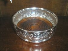 EXCELLENT Hallmarked SOLID SILVER embossed COASTER/BOTTLE STAND - 2 available