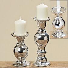 Kerzenständer Kerzenhalter Keramik silber 25cm