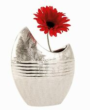 Moderne Deko Vase Blumenvase aus Keramik silber Höhe 23 cm