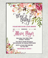 BOHO BABY SHOWER Invitation Rustic Invite Bohemian Brunch Shabby Chic High Tea