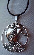 Segelschiff Halskette Echt Leder Kette Silber Wikinger Schiff Wicca Pagan