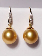 11.7mm golden South Sea pearl dangle earrings,diamonds,solid 18k yellow gold