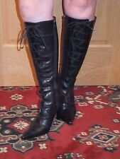 River Island Black Leather Lace-up Knee High Stiletto Boots UK size 5