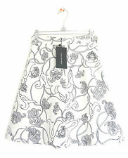 ZARA WOMENS OFF-WHITE BLACK FLORAL PRINTED A-LINE SKIRT *XS/UK 6-8* NEW WITH TAG