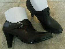 New ladies real leather designer ankle boots dark brown buckle heels size 4 UK