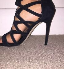 RIVER ISLAND BLACK SUEDE CAGE STRAPY GLADIATOR STYLE SHOES UK SIZE 7
