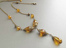 Amber glass crystal drop necklace . statement pendant vintage style sparkle bead