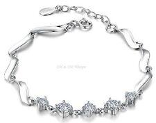 * A003 Damen Armband 925 Sterling Silber 5 Zirkonia, Kristall, Geschenk, Neu *