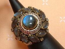 Antique Design - exclusiver Ring mit Labradoriten  - Sterling Silber - 925 - 58