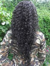 """Black #1b curly afro 24"""" extra long drawstring ponytail hair extension piece"""