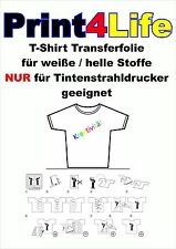 50 Blatt T-Shirt Folie Textil Bügelfolie Transferfolie hell für Inkjet klar