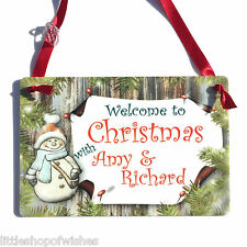 Welcome to Christmas with - Personalised Snowman Plaque Sign Gift Keepsake Xmas