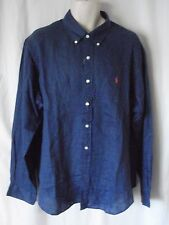 NEW Mens Ralph Lauren Royal Blue 100% Linen Long Sleeve Shirt XXL £110