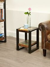 Urban Chic reclaimed wood indian furniture low plant stand lamp side table