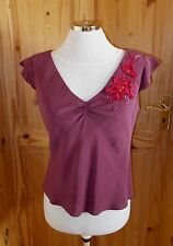 MONSOON burgundy red PURE SILK floral short cap sleeve blouse tunic top 12 40