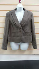 LADIES PEAT / BROWN FLECK DOUBLE COLLAR JACKET FORMAL SIZE 14 BNWT
