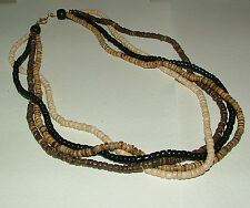 BROWN cream black multistand COCO WOOD NECKLACE