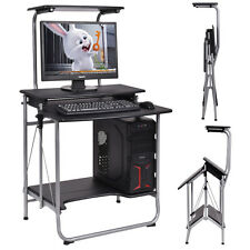 Computer Study Desk Office Desk Workbench PC Table Stand Foldable Double-deck