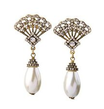E973 Betsey Johnson Vintage Downton Abbey Shell Crystal Drop Pearl Earrings  AU