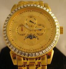 Men's Lobor  Watch France Quartz 23k Gold Plated Crystal Bezel Water Resistant