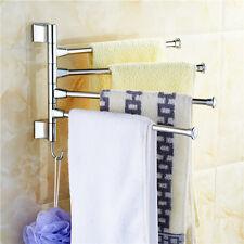 Towel Holder 4 Swivel Bars Stainless Steel Bath Rack Rail Hanger Bathroom Shelf