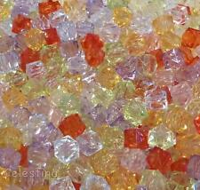 100 7mm Mixed Colour Transparent Faceted Acrylic Cube Beads Brights - PB30