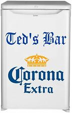 CORONA  BAR FRIDGE VINYL CUT STICKER DECAL WITH YOUR NAME