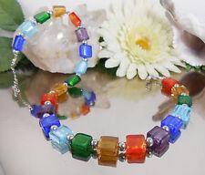 Halskette Collier aus Glas Quadraten mit Silberfolie in bunten Farben