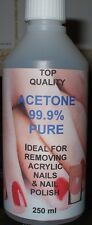 Acetone 100% Pure.Acrylic Nail Remover, Nail Polish Remover, Top Quality. 250ml