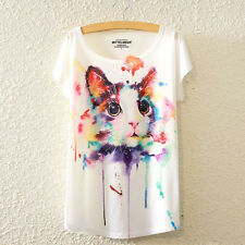 New Fashion Summer Women Short Sleeve Colorful Cat Print T Shirt Blouse Tops Tee