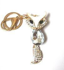 Schlüsselanhänger - Taschenanhänger Fuchs mit Glaskristall goldfarben Strass 3D
