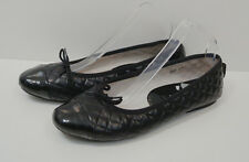 RUSSELL & BROMLEY Black Quilted & Leather Patent Slip On Flat Ballerina Shoes 9