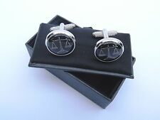 "LAWYERS/SOLICITORS ""SCALES OF JUSTICE"" Metal Cuff Links in a BLACK GIFT BOX-NEW"