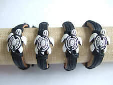 Mens Womens Genuine Leather Sea Turtle Charm Surfer Bracelet Wristband Cuff