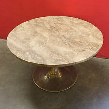 Stunning Brass Base Marble Sandy Stone Colour Top Occasional Table - AD