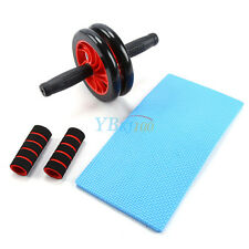 AB Wheel Roller Abdominal Workout Fitness Waist Gym Exercise W/ Knee Pad Red