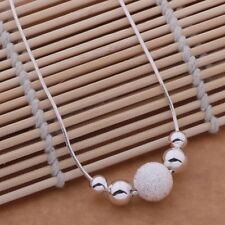 Stunning 925 Sterling Silver Bead Charm Pendant Strand Necklace Chain Jewelry