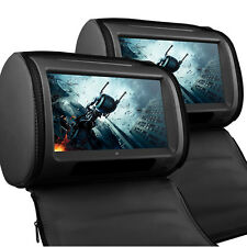 """Universal 9"""" Leather-Style Car DVD Headrests HD Touch-Screen/SD/USB BMW X3/X5/X6"""