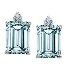 3.00 Carat Emerald Aquamarine and Round Diamond Earring Crafted in White Gold  .