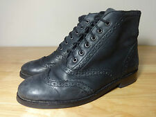 """Womens size 4 black ankle boots """"Office London"""" leather brogue boots ladies UK 4"""