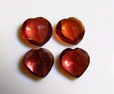 4pc RED GARNET HEART SHAPE FACETED 5mm - CUT FROM NATURAL GEMSTONE ROUGH