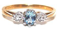 9CT YELLOW GOLD OVAL AQUA BLUE TOPAZ & DIAMOND 3 STONE RING SIZE N 1/2